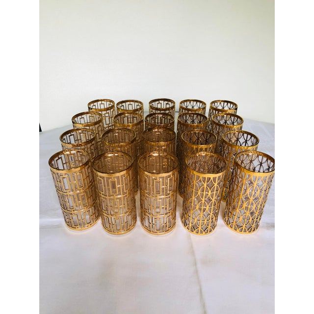 Gold 1960s Hollywood Regency 22k Gold Imperial Glass Tumblers - Set of 20 For Sale - Image 8 of 8