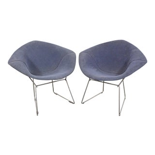 Pair of Mid-Century Modern Authentic Harry Bertoia Knoll Chrome Diamond Chairs For Sale