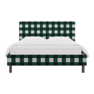 Queen Tailored Platform Bed in Hunter Check For Sale