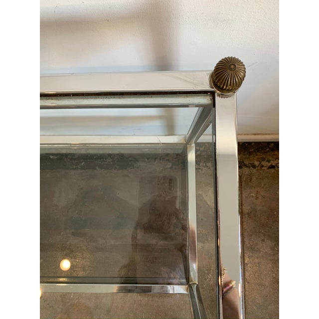 1970s Mid-Century Modern Chrome & Glass Entry Table For Sale In Los Angeles - Image 6 of 7