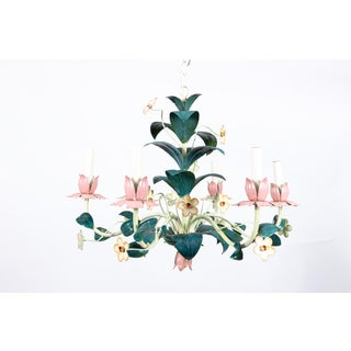 1970s Pink and Green Tole Painted Italian Floral Chandelier Preview