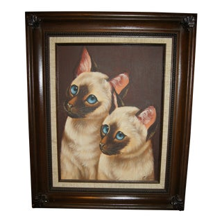 Vintage Siamese Cat Painting For Sale