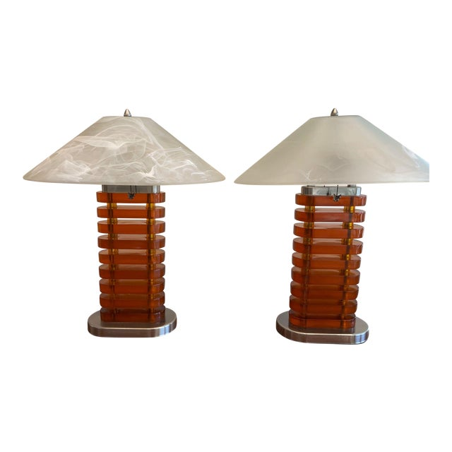 Vintage Acrylic Lamps With Glass Shades, a Pair For Sale