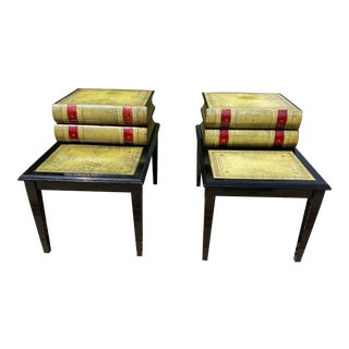 1950s Hollywood Regency Green Leather Topped Book-Shaped End Tables - a Pair For Sale
