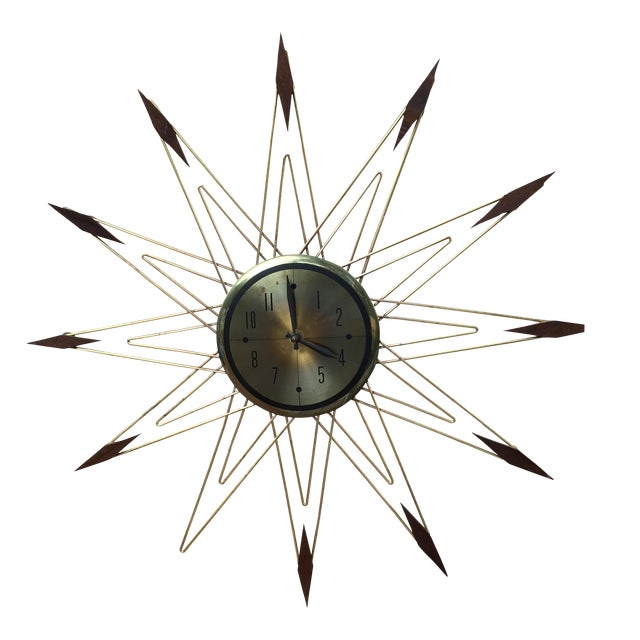 Mid-Century Modern Starburst Metal & Walnut Clock - Image 1 of 5