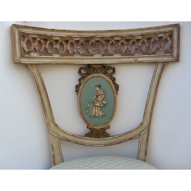 Neoclassical Hand Painted Italian Side Chairs - 2 - Image 2 of 6