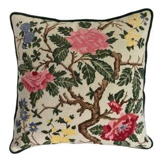 Vintage Chinoiserie Needlepoint Rose Floral Pillow For Sale