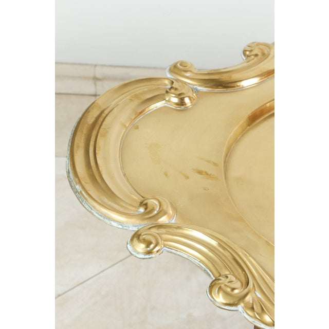 Hollywood Regency Oval Brass Tray Table For Sale In Los Angeles - Image 6 of 8
