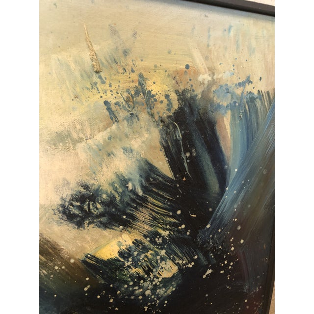 """Paint 1960s """"A Blue Painting"""" Abstract En-Yo Yang Painting, Framed For Sale - Image 7 of 11"""