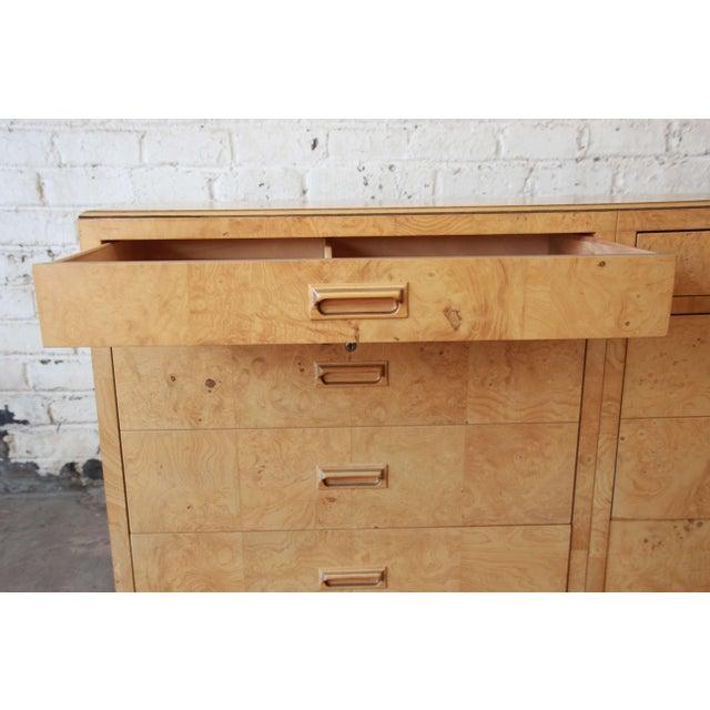 Burl Wood Long Credenza or Bar Cabinet by Henredon For Sale - Image 11 of 13