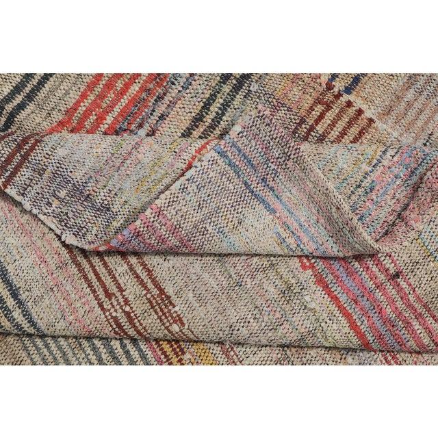 Contemporary Vintage Turkish Modern Striped Flatweave Handmade Rug - 5′8″ × 8′2″ For Sale - Image 3 of 4