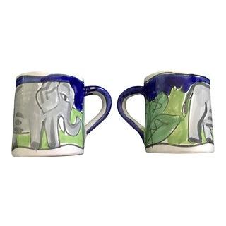 Pair of Hand-Painted Starbucks Mugs Elephant Design
