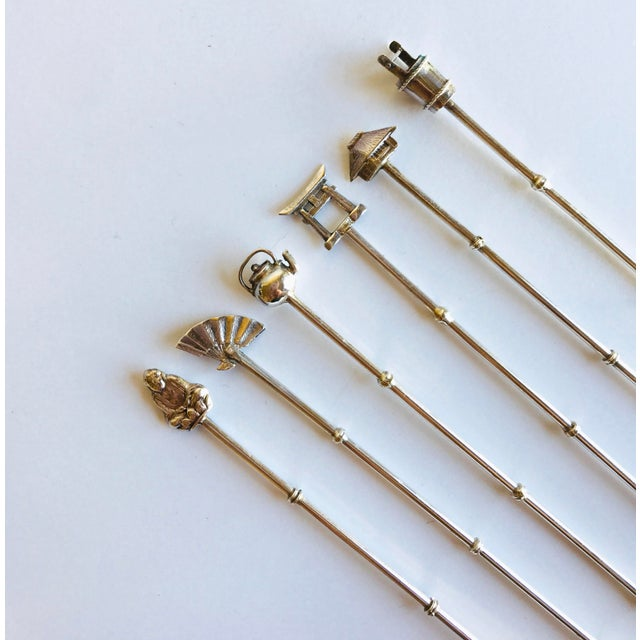 Asian Sterling Silver Cocktail Stirrers - Set of 6 For Sale - Image 3 of 6