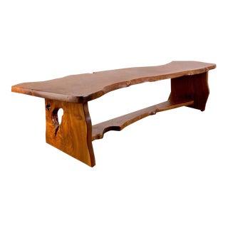 Handcrafted Redwood Slab Bench For Sale