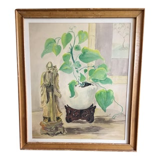 Asian Watercolor Painting For Sale