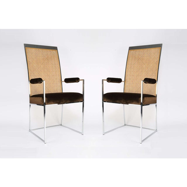 This gorgeous set of six Milo Baughman dining chairs was manufactured for Thayer Coggin, circa 1970. The simplistic chrome...