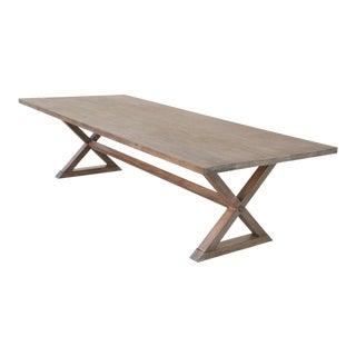 Expandable Minimalist X Walnut Trestle Table For Sale