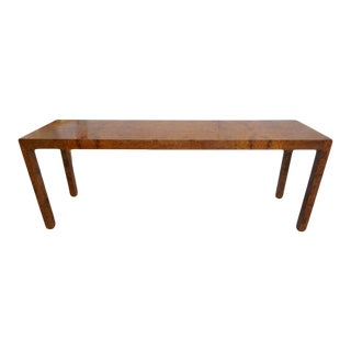 Mid-Century Modern Milo Baughman Burlwood Console Table For Sale