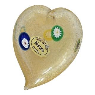 Italian Murano Glass Heart With Gold Aventurine and Murrines Paperweight Venetian