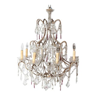 19th Century Italian 8 Light Crystal Chandelier