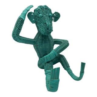Vintage Mid Century Blue Wicker Monkey For Sale