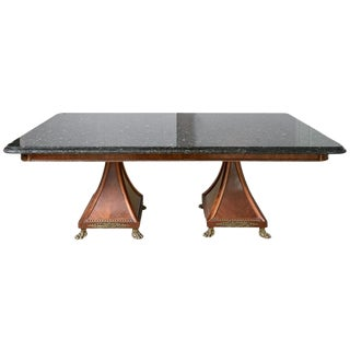 Regency Style Granite Top Oversize Library Table With Bronze Claw Feet For Sale