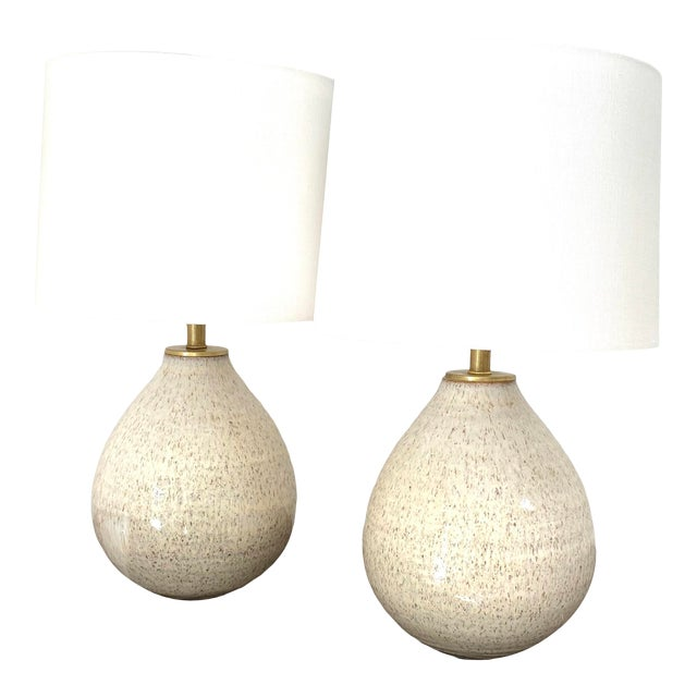 Organic Modern Handmade Ceramic Table Lamps - a Pair For Sale