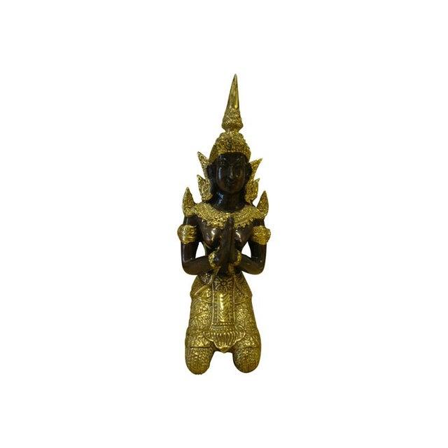 Gilt Bronze Kneeling Thai Princess Figurine - Image 1 of 7