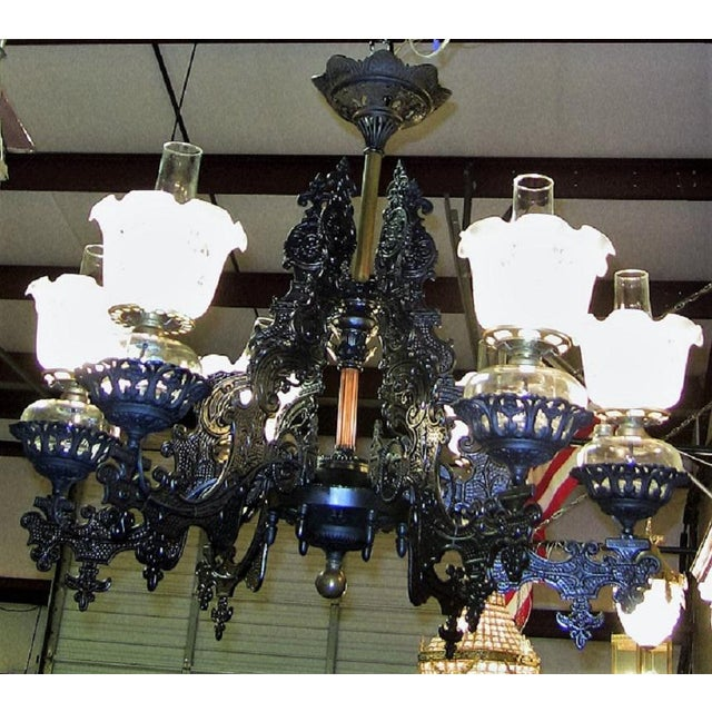 Bradley Hubbard 19c Bradley & Hubbard Cast Iron 6 Arm Chandelier For Sale - Image 4 of 13