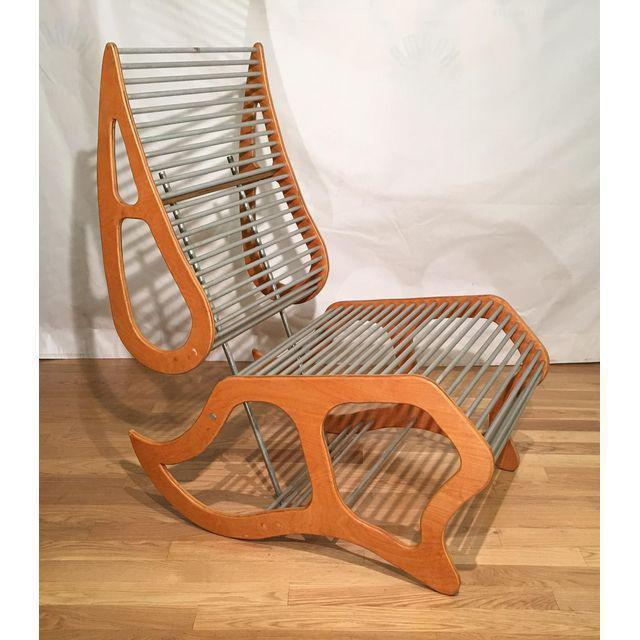 Mid Century Danish Modern Designer Lounge Chair. Constructed of aluminum rods and cut plywood. Very unusual example,...