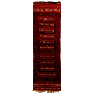 Vintage Geometric Red and Beige Wool Kilim Runner Rug - 2′1″ × 6′9″ For Sale