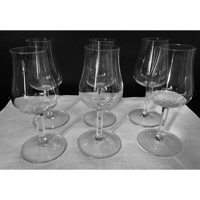 """Baccaret 6"""" Claret Wine Glasses, Set of 6. 6 inches high x 1 5/8 inches in diameterb (at the top of glass) x 3 inches deep..."""