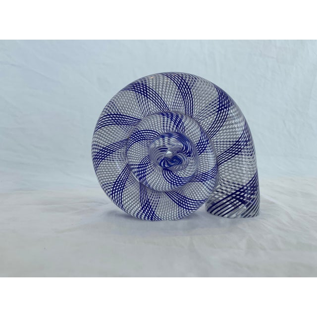 Venini sculpture with striped bands of blue and white that spiral around each other as they run through it. Great vintage...