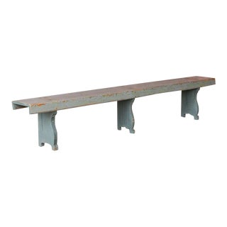 Late 19th Century Antique Gray Painted Country Pine Bench For Sale