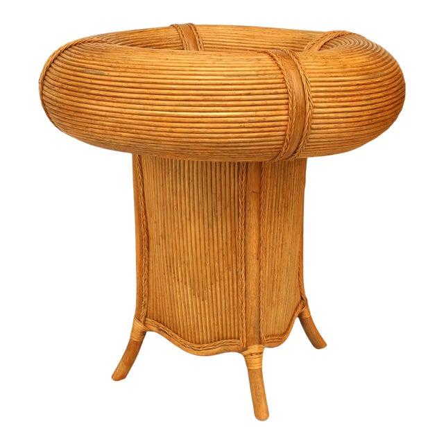 Italian Rattan Open Center Café Table For Sale