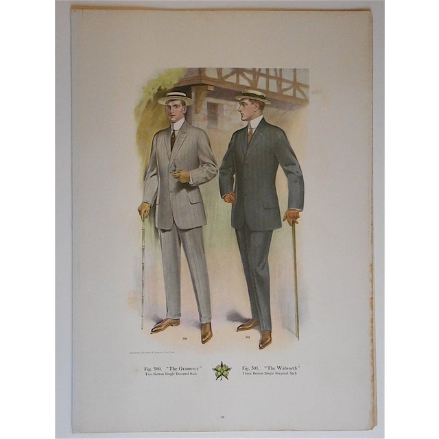 """Antique """"Well Dressed Men"""" Lithograph - Image 2 of 3"""