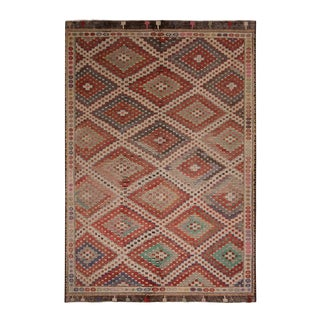 Vintage Mid-Century Denizli Diamond Red and Beige-Brown Wool Kilim Rug- 6′5″ × 9′7″ For Sale