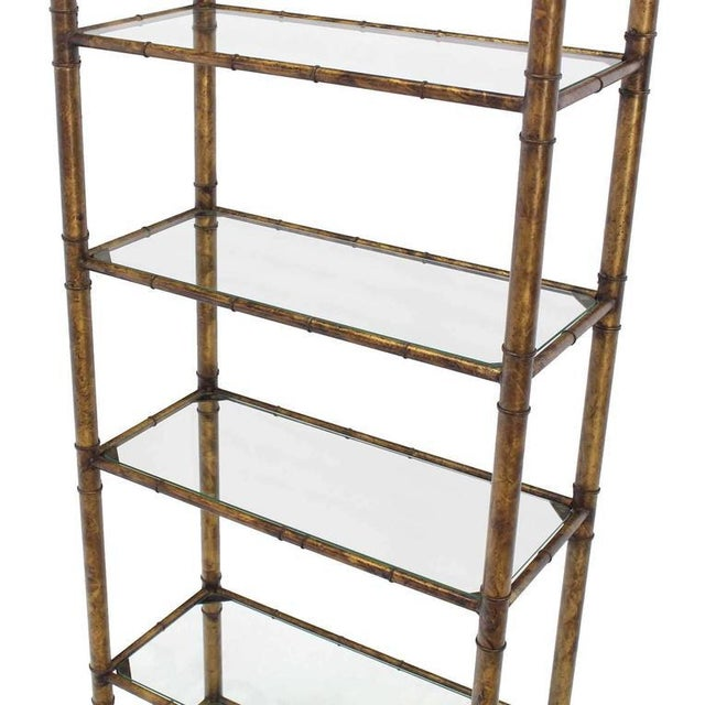 Mid-Century Modern metal shaded gold faux bamboo shelf or etagere. In style of Maison Bagues