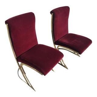 Milo Baughman Brass Plated Chairs - A Pair