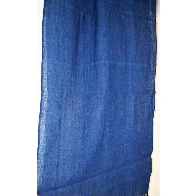 Japanese Indigo Blue Natural Hand Woven Dye Cotton Table Runner With Tasseled Edge For Sale - Image 4 of 5