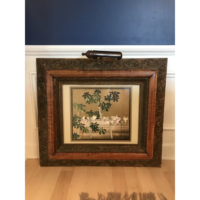 Antique Chinoiserie Panel Print in Wooden Frame For Sale - Image 13 of 13