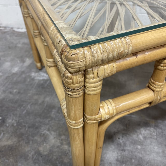 1970s Bamboo & Wicker Glass Top End Tables For Sale - Image 5 of 8