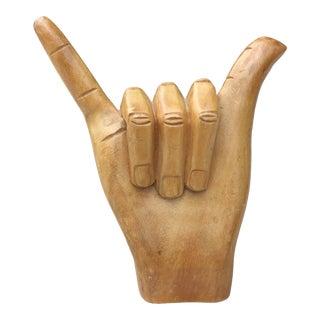 Vintage Carved Wooded Human Hand Hang Loose Sculpture For Sale