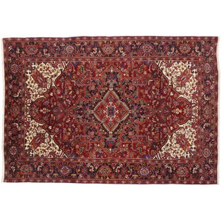 Vintage Mid Century Persian Heriz Rug- 7′10″ × 11′4″ For Sale