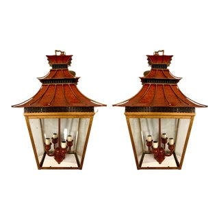 Pair of Chinoiserie Tole Pagoda Lantern Chandeliers For Sale