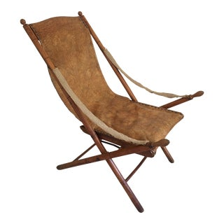 French Oak Reclining Campaign Chair For Sale
