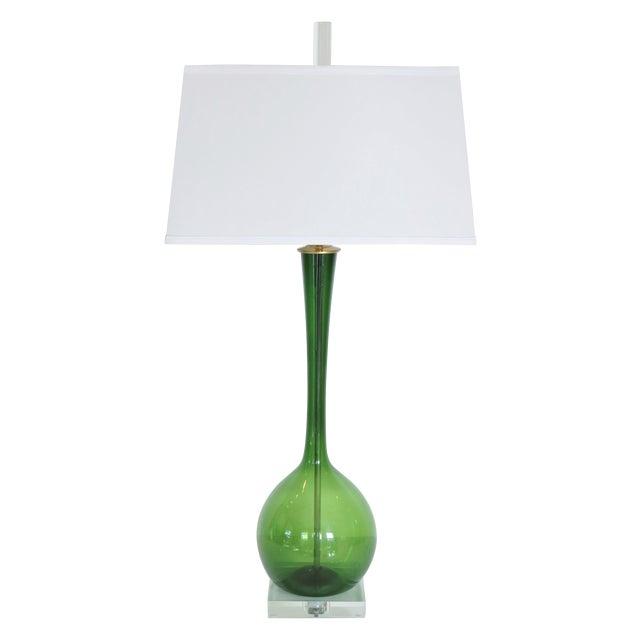 Vintage Deep Emerald Glass Lamp - Image 1 of 5