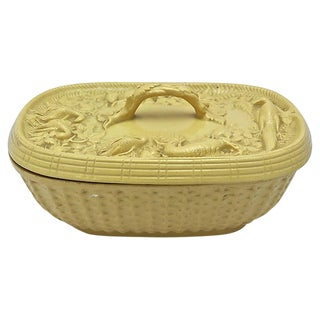 Antique English Yelloware Game Dish - C.1850 For Sale