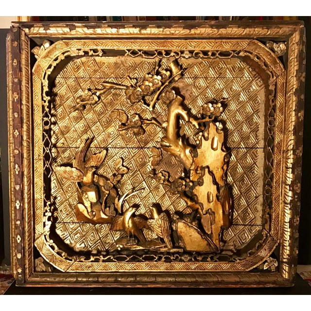18th Century Antique Qing Chinese Carved Monumental Giltwood Temple Wall Panel Cassette For Sale - Image 12 of 12