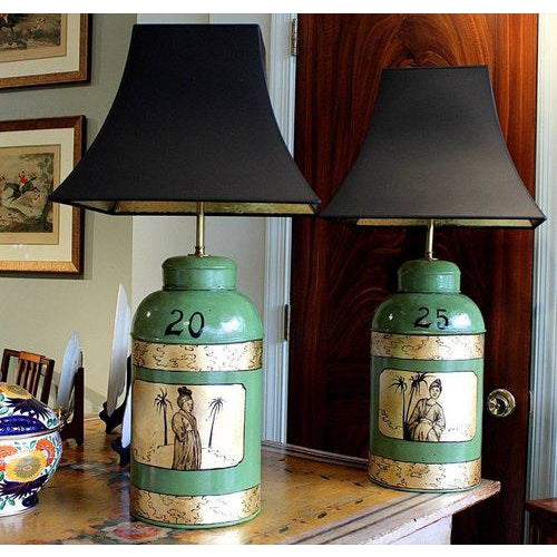 An Assembled Pair of Antique English Tea Cannisters Adapted Into Lamps, Redecorated With Later 20th Century Painted and...